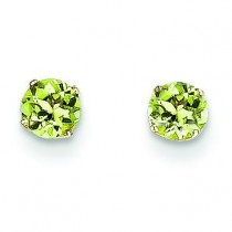 Peridot Post Earrings in 14k Yellow Gold