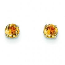 Citrine Post Earrings in 14k Yellow Gold
