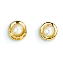 Cultured Pearl Post Earrings in 14k Yellow Gold