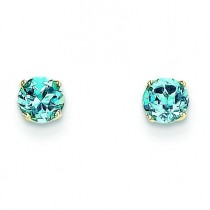 Blue Topaz Post Earrings in 14k Yellow Gold
