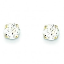 White Zircon Earrings in 14k Yellow Gold