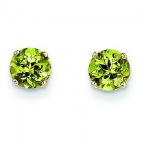 Peridot Earrings August in 14k Yellow Gold