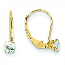 Aquamarine Earrings March in 14k Yellow Gold