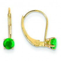 Emerald Leverback Earrings in 14k Yellow Gold