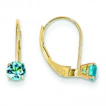Blue Topaz Leverback Earrings in 14k Yellow Gold
