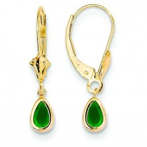 Emerald Earrings May in 14k Yellow Gold