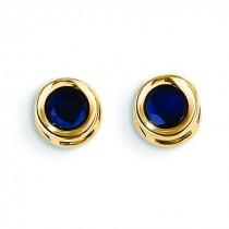 Sapphire Earrings September in 14k Yellow Gold