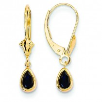 Sapphire Earrings September in 14k Yellow Gold