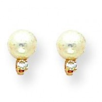 Pearl Diamond Earrings in 14k Yellow Gold (0.036 Ct. tw.)