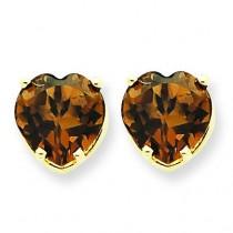 Heart Smokey Quartz Earring in 14k Yellow Gold