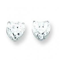 Cubic Zirconia Diamond Heart Stud Earring in 14k White Gold