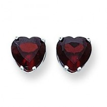 Heart Garnet Earring in 14k White Gold
