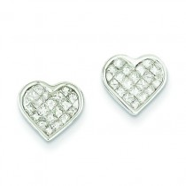 Diamond Heart Earrings in 14k White Gold