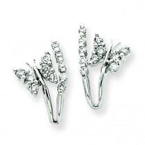 Diamond Butterfly Earrings in 14k White Gold