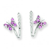 Diamond Pink Sapphire Butterfly Earrings in 14k White Gold (0.1 Ct. tw.) (0.1 Ct. tw.)