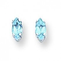 Marquise Blue Topaz Earring in 14k White Gold