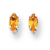 Citrine Diamond Marquis Stud Earring in 14k White Gold