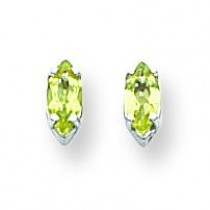 Marquise Peridot Earring in 14k White Gold