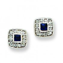 Diamond Sapphire Earrings in 14k White Gold (0.09 Ct. tw.) (0.09 Ct. tw.)