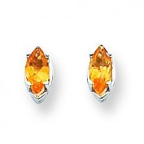 Marquise Citrine Earring in 14k White Gold
