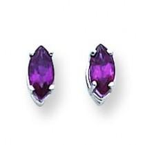 Rhodalite Garnet Diamond Marquis Stud Earring in 14k White Gold