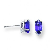 Amethyst Diamond Marquis Stud Earring in 14k White Gold