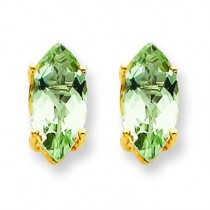 Marquise Green Amethyst Earring in 14k Yellow Gold