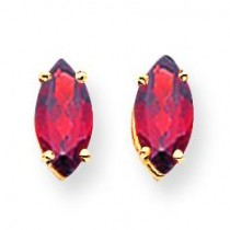 Garnet Diamond Marquis Stud Earring in 14k Yellow Gold