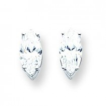 Cubic Zirconia Diamond Marquis Stud Earring in 14k White Gold