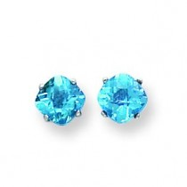 Cushion Blue Topaz Checker Earrings in 14k White Gold