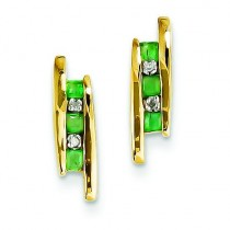 Diamond And Emerald Earrings in 14k Yellow Gold (0.02 Ct. tw.) (0.02 Ct. tw.)