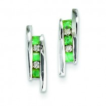 Diamond And Emerald Earrings in 14k White Gold (0.02 Ct. tw.) (0.02 Ct. tw.)