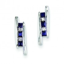 Diamond And Sapphire Earrings in 14k White Gold (0.02 Ct. tw.) (0.02 Ct. tw.)