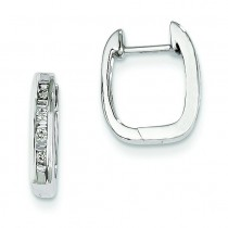 Diamond Square Hoop Earrings in 14k White Gold (0.18 Ct. tw.) (0.18 Ct. tw.)