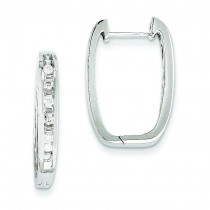 Diamond Square Hoop Earrings in 14k White Gold