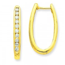 Diamond Oval Hoop Earrings in 14k Yellow Gold (0.75 Ct. tw.) (0.75 Ct. tw.)