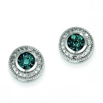 Blue White Diamond Earrings in 14k White Gold