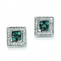 Blue Diamond Earrings in 14k White Gold