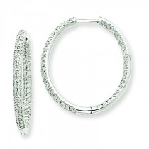 Diamond In Out Hoop Earrings in 14k White Gold