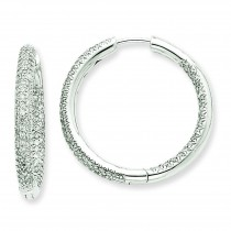 Ctw Circle Hoop Diamond Earrings in 14k White Gold