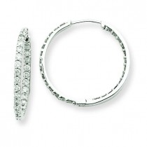 Diamond Hoop Earrings in 14k White Gold