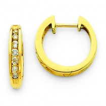 Diamond Hinged Hoop Earrings in 14k Yellow Gold