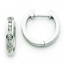 Diamond Hinged Hoop Earrings in 14k White Gold (0.18 Ct. tw.)
