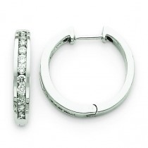 Diamond Hinged Hoop Earrings in 14k White Gold