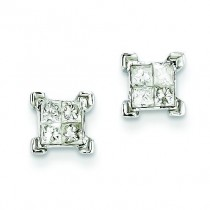 Princess Diamond Screwback Earrings in 14k White Gold