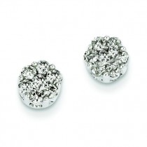 Diamond Cluster Screwback Earrings in 14k White Gold
