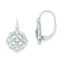 Diamond Leverback Earrings in 14k White Gold