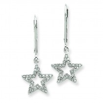 Diamond Star Leverback Earrings in 14k White Gold