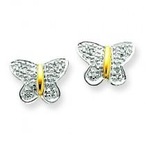 Diamond Butterfly Post Earrings in 14k Yellow Gold