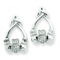 Diamond Claddagh Post Earrings in 14k White Gold